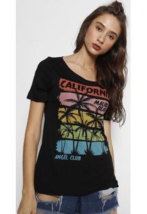 """Camiseta """"Califórnia""""- Preta & Amarelaangel"""