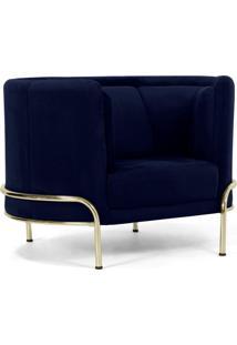 Poltrona Decorativa Para Sala De Estar Base D'Ouro Ferrara Veludo Azul Marinho - Gran Belo