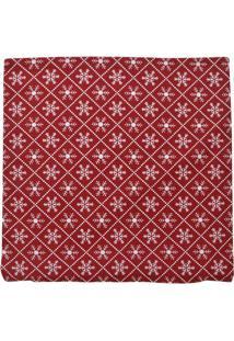 Capa Para Almofada Flocos De Neve- Vermelha & Brancamabruk