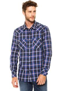 Camisa Wrangler Xadrez Azul/Preta