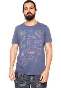 Camiseta Colcci Draw Neon Azul