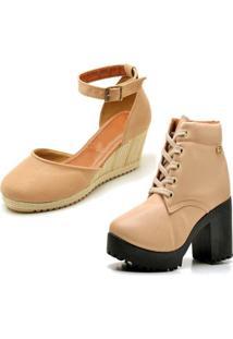 Kit Bota Coturno Ousy Shoes Mais Sandália Anabela Nude