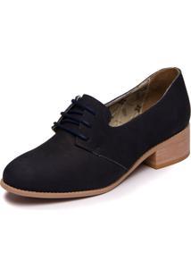 Sapato Mzq Azul Marinho Em Couro -Abufulado Marinho - Slin 3007