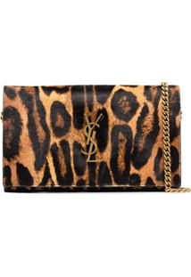 Saint Laurent Bolsa Tiracolo Animal Print - Marrom