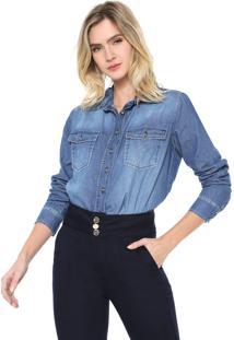 Camisa Jeans Lança Perfume Bolsos Azul