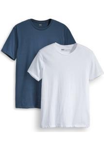 Camiseta 2 Pack Crew Levis 2 Peças - Masculino-Branco+Azul