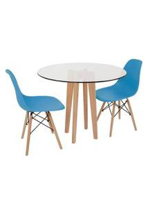 Conjunto Mesa De Jantar Em Vidro 90Cm Com Base Vértice + 2 Cadeiras Eiffel - Turquesa