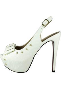 Sandália Week Shoes Salto Alto Meia-Pata Chanel Branco