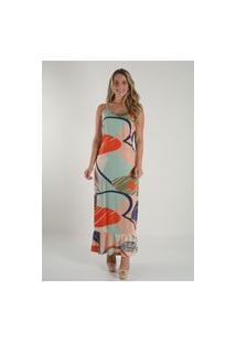 Vestido Mamorena Longo Estampado Alcinha Cordão Multicolorido