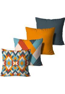Kit 4 Capas Love Decor Para Almofadas Decorativas Abstrato Multicolorido Laranja