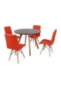 Mesa Inês 100Cm Preta + 4 Cadeiras Eiffel Gomos - Vermelha