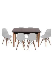 Conjunto Mesa De Jantar Luiza 135Cm Preta Com 6 Cadeiras Eames Eiffel - Cinza