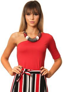Blusa Ficalinda De Um Ombro Sã³ Meia Manga Vermelha - Vermelho - Feminino - Elastano - Dafiti
