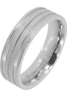 Aliança Em Aço Theos Convex Jóias - Unissex-Prata