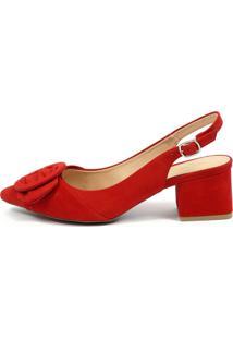 Scarpin Chanel Equipage (975369) Nobuck Vermelho