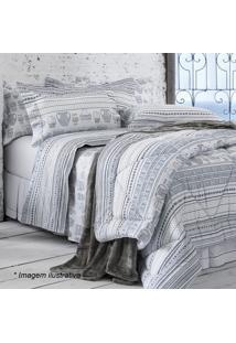 Conjunto De Colcha Creta King Size- Branco & Azul- 3Sultan