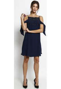 106f28f5e ... Vestido Liso Com Renda & Amarração - Azul Marinho - Morena Rosa
