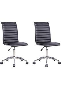 Conjunto Com 2 Cadeiras De Escritório Secretária Giratórias Marilyn Preto