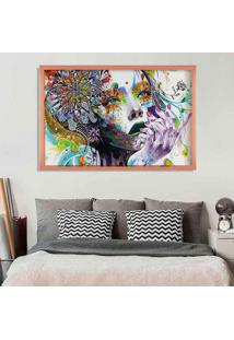 Quadro Love Decor Com Moldura Abstract Face Rose Metalizado Grande