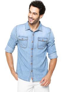 Camisa Jeans Hering Slim Bolso Azul