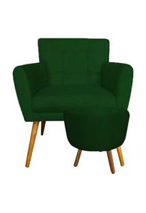 Combo Poltrona Decorativa Onix Mais Puff Redondo Suede Verde - Ds Móveis