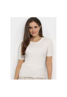 Blusa Facinelli Tricot Canelada Branco