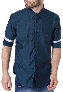Camisa Manga 3/4 Masculina Azul Marinho