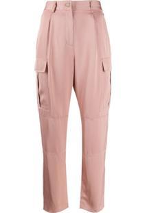 Calvin Klein Calça Cintura Alta Com Bolsos Laterais - Rosa