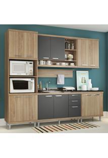 Cozinha Compacta 12 Portas 3 Gavetas Sicilia 5814 Argila/Grafite Premium - Multimóveis