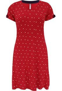 Vestido Pau A Pique Em Poá Vermelho
