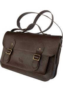 Bolsa Line Store Leather Satchel Grande Couro Marrom Escuro. - Kanui