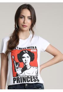 Blusa Feminina Princesa Leia Star Wars Manga Curta Decote Redondo Off White