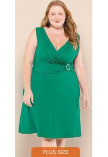 Vestido Plus Size Transpassado Verde Folhagem