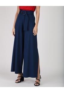 Calça Feminina Pantalona Clochard Cintura Super Alta Com Fenda E Cinto Azul Marinho