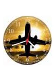 Relógio De Parede Avião Aeronave Decorações Salas Quartos