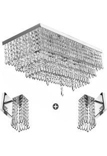 Kit 1 Luminã¡Ria Queops + 2 Arandela Clearcrillic Cristal Acr - Prata - Dafiti