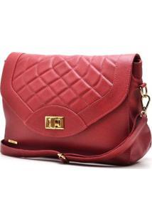 Bolsa Hendy Bag Couro Matelassê Feminina - Feminino-Vermelho Escuro