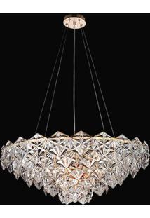 Lustre De Cristal Zara 9 Lâmpadas Bella Iluminação Transparente E Cobre