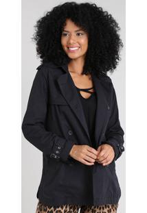 Casaco Trench Coat Feminino Com Capuz Preto