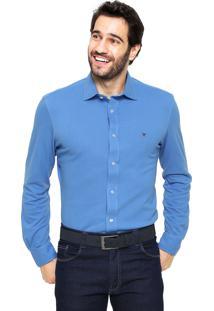 Camisa Polo Play Reta Custon Fit Azul