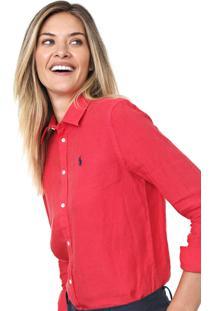 Camisa Linho Polo Ralph Lauren Reta Relaxed Vermelha