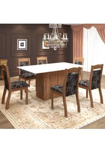 Mesa De Jantar 6 Lugares Valsa Dover/Cobre/Branco - Mobilarte Móveis