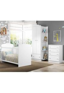 Quarto Infantil Completo João E Maria Multimóveis Branco/Colorido Com Berço + Guarda Roupa 2 Portas Branco