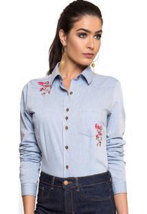 Camisa Principessa Elizane Azul
