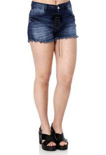 63bd871206 Lojas Pompéia. Short Jeans Feminino Azul