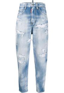 Dsquared2 Calça Jeans Cintura Alta Com Acabamento Puído - Azul
