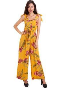 Macacão Kinara Viscose Estampado Feminino - Feminino-Amarelo