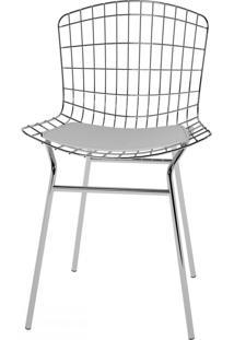 Cadeiras Trama Vinil Branco/Cromado - Pozza