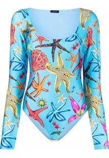 Versace Body Com Estampa Trésor De La Mer - Azul