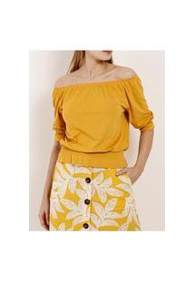 Blusa Ciganinha Manga ¾ Feminina Amarelo